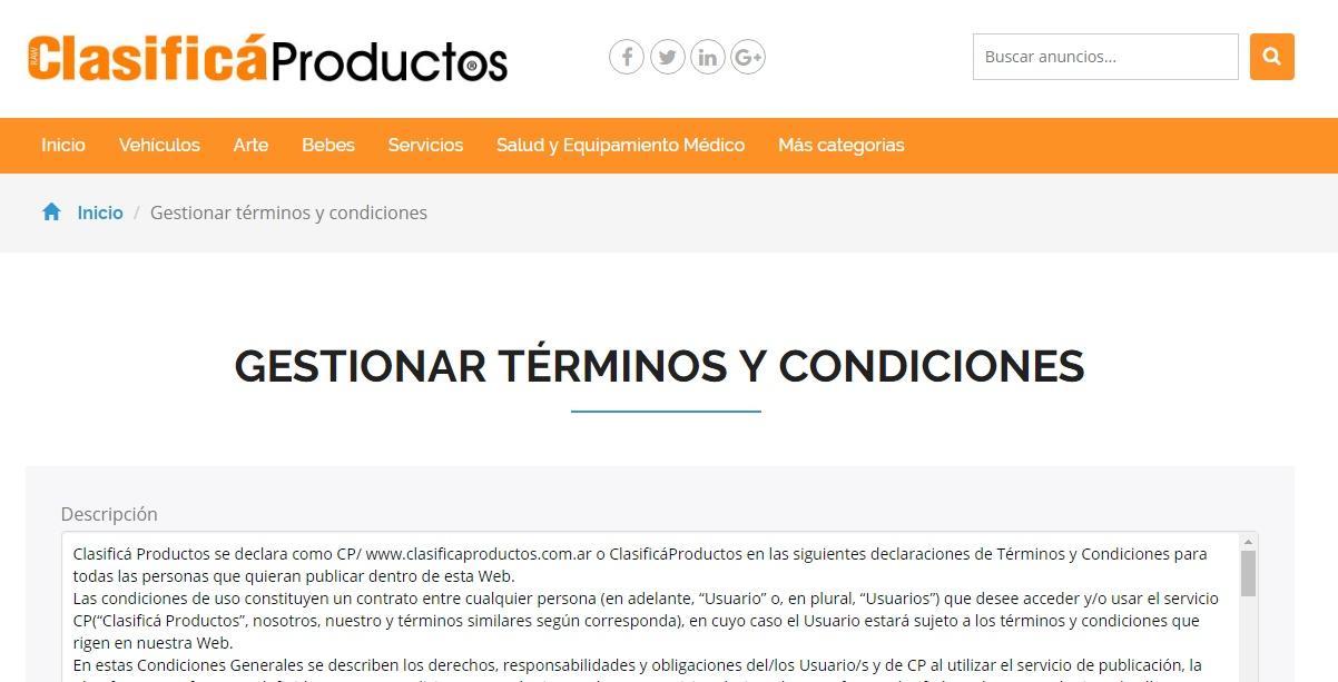 Gestión de términos y condiciones - Administrador