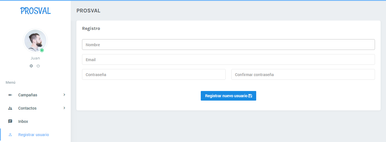 Registrar usuario | Prosval