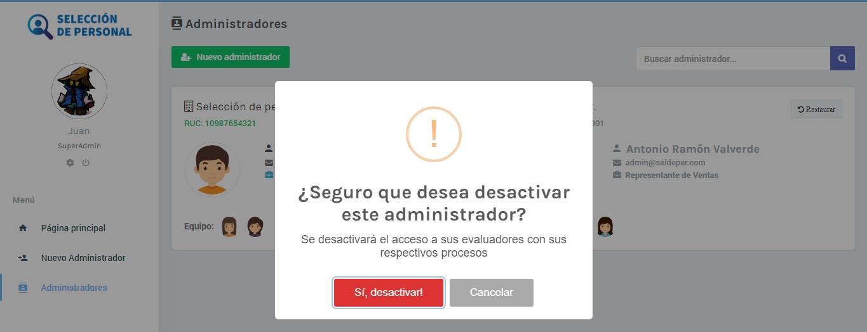 Desactivar administrador | App de selección